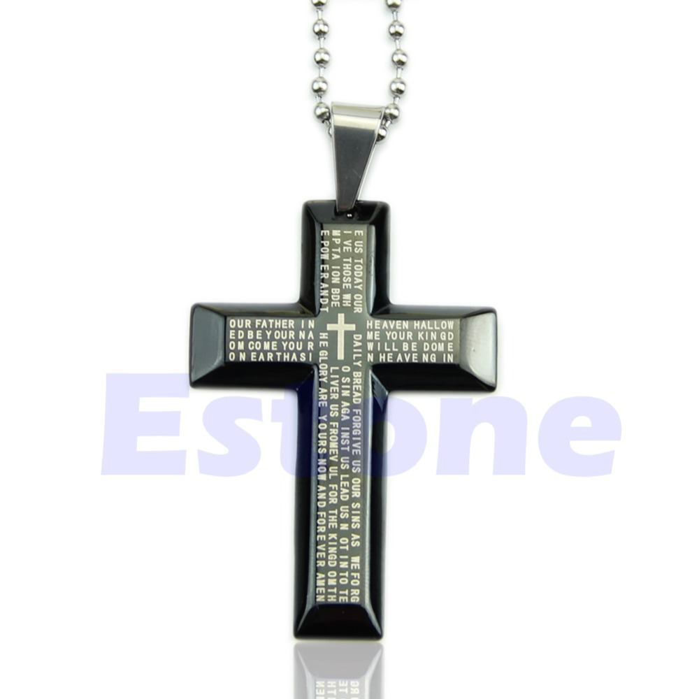 New Gift Unisex Men Black Silver Bible Stainless Steel Cross Pendant Necklace(China (Mainland))