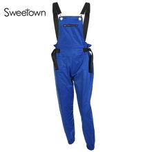 Sweetpropio mono largo negro mujer azul calle estilo combinado Pantalon mujer verde monos caqui para mujer 2018(China)