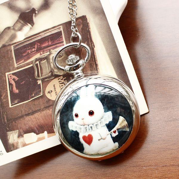 whole sale Necklace pocket watch silver fashion rabbit horn Ceramic for women ladies quartz analog dropship top qaulity(China (Mainland))