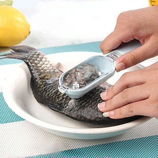 free shipping new easy self collect fish scale cleaner,fish scale scraper,scale scraping knife,brush