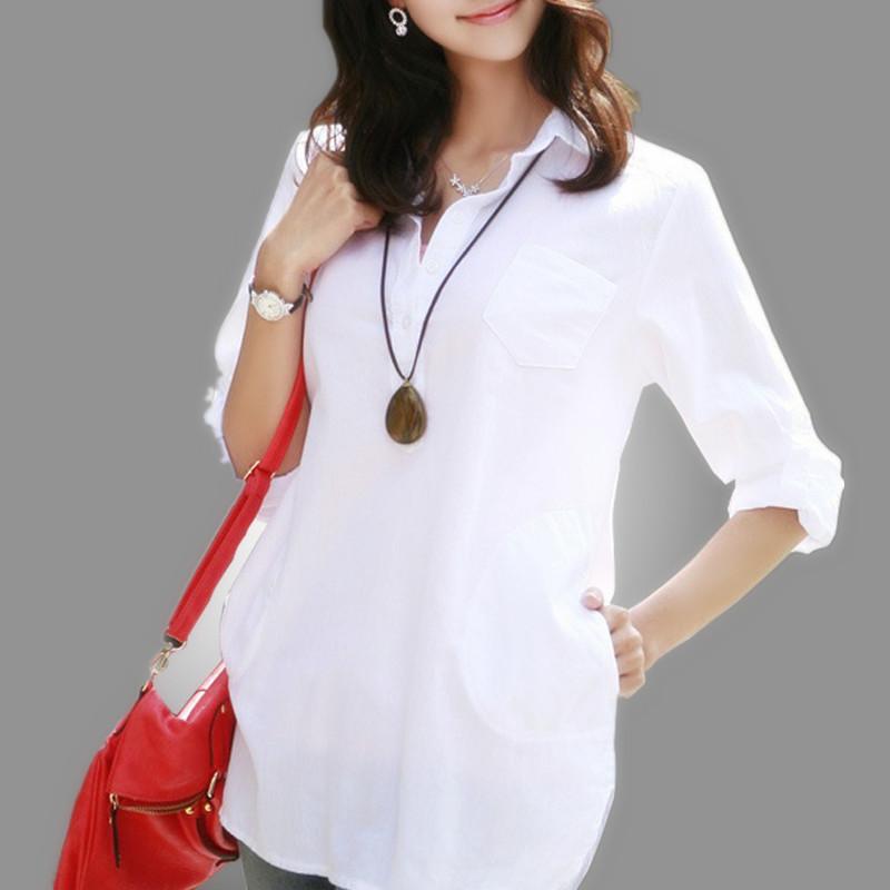 Summer 2015 Large Size 100% Cotton Blouses Women Loose Casual Blouse White Shirt Women Blouses Plus Size Tops Blusas Femininas(China (Mainland))