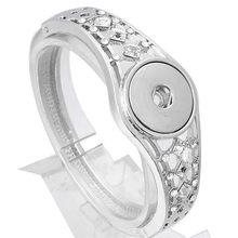 Gorąca sprzedaż Snap biżuteria zatrzask metalowy bransoletka bransoletka Rhinestone srebrny bransoletka Fit 18mm 20mm Snap przycisk biżuteryjny dla kobiet(China)