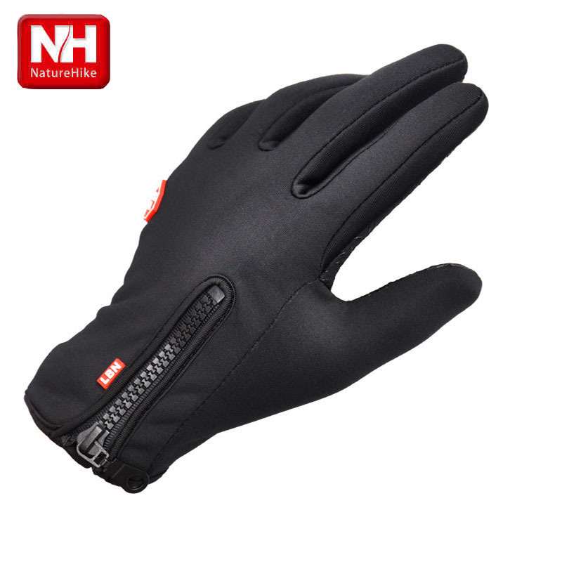 Free shipping winter sport windstopper waterproof ski gloves black -30 warm riding glove Motorcycle gloves -NatureHike(China (Mainland))