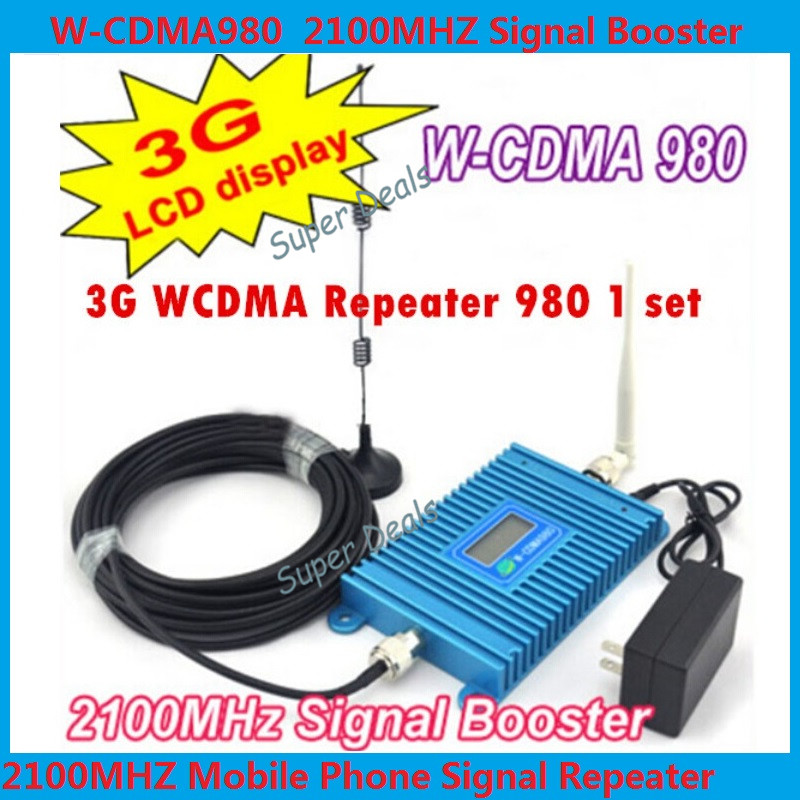 LCD Display !!! W-CDMA 980 Signal Booster 2100Mhz WCDMA 3G Signal Amplifier 3G Cell Phone Signal Repeater + 10m Cable + Antenna(China (Mainland))