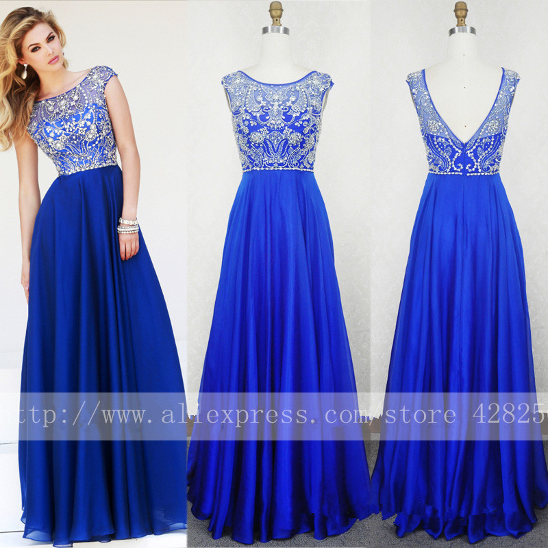 Real Photo Scoop Cap Sleeve Royal Blue Prom Dresses Beaded Crystals A line Chiffon Long Party Dresses 2015 Abendkleider(China (Mainland))