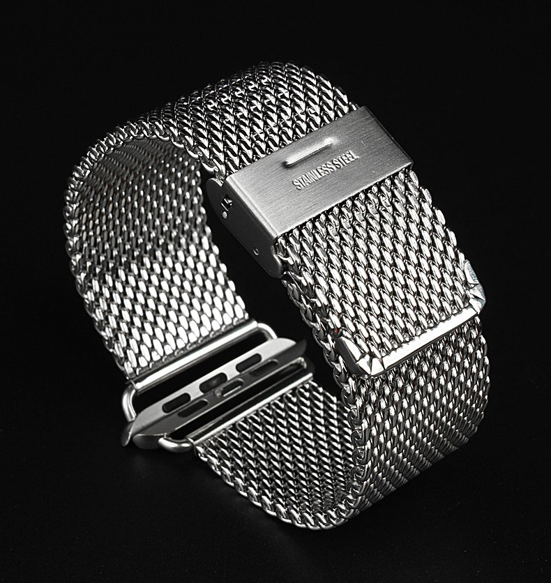 Мода Milanese серебро из нержавеющей стали часы полоса для отверстие-р s-l прибытие-e часы iWatch 38 мм 42 мм бесплатная доставка