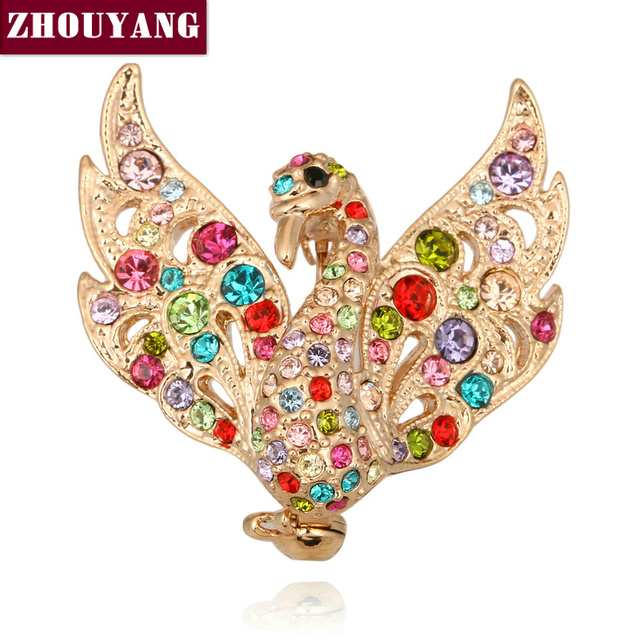 ZYX024 Swan Princess Crystal Brooches 18K Champagne Gold Plated  Jewelry Austrian Crystal  Wholesale