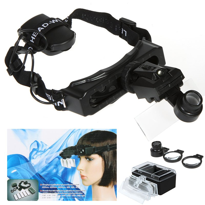 Headband Headset LED Light Magnifier Magnifying Glass Loupe Watch Repair 8 Lens Free shipping<br><br>Aliexpress