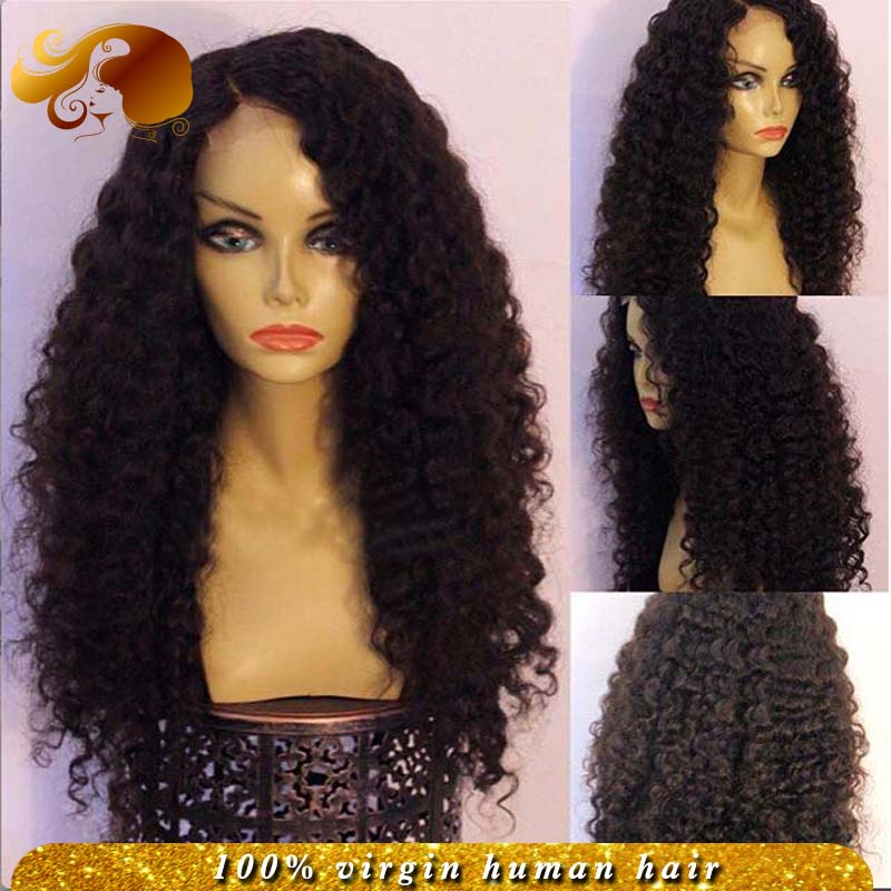 Side Part Human Virgin Hair Full Lace Wigs Kinky Curly Brazilian Lace Front Wig Bleached Knot For Black Women<br><br>Aliexpress