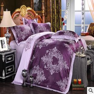 Luxury tribute silk satin jacquard/cotton Purple lilac 4pcs wedding bedding set comforter/duvet cover set/B2324 Queen King size(China (Mainland))