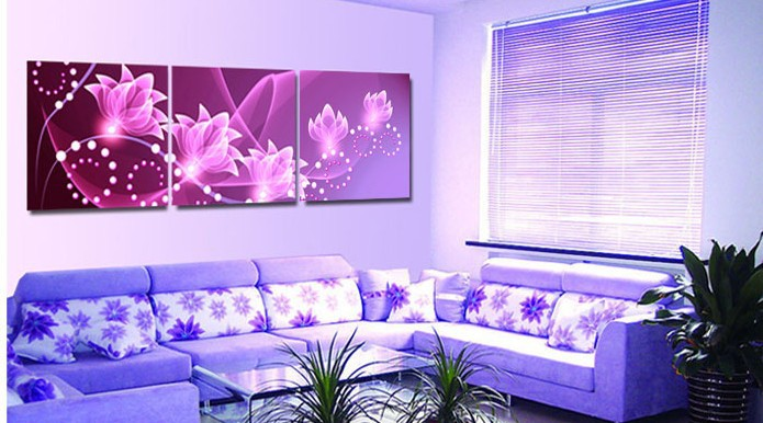 free shipping Picture frame wall clock decorative painting wall painting flower 3 piece canvas wall art purple flower(China (Mainland))