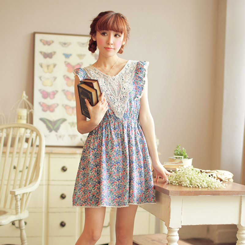 Small fresh rustic decoration lace ruffled pleated sleeve V-neck pure cotton one-piece dress summer - Incredible zone store