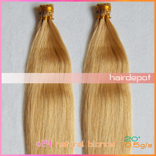 "free DHL 20"" #24 Human Stick Hair Extension I tips 0.5g/s natural blonde 4A Grade Straight itip Hair Extensions Keratin Mixable(China (Mainland))"