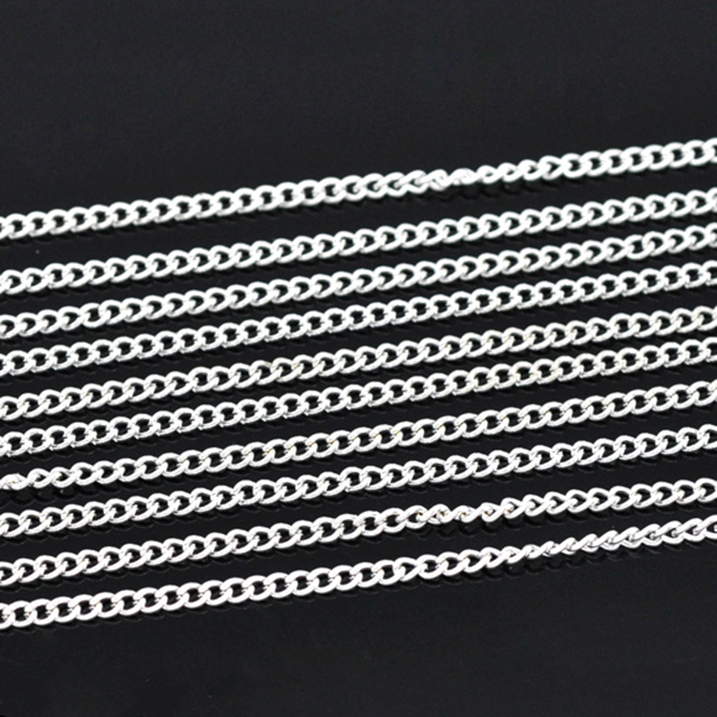 DoreenBeads Lovely 10M Silver Plated Link-Opened Curb Chains 3x2.2mm (B13656)