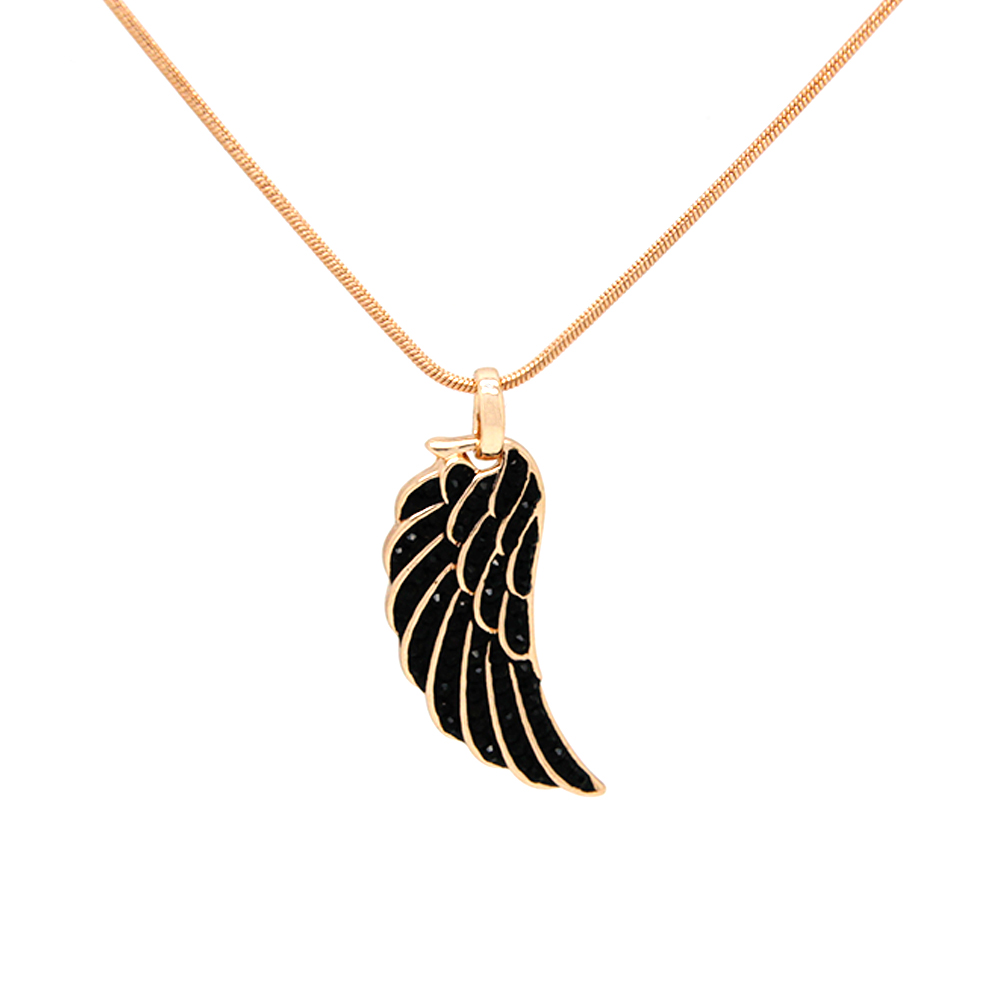 Fashion Necklace Wing Pendant Necklace Black Rhinestone Rose Gold Plated with 80 cm Long ChainStatement Necklace 2016 FNRG0028(China (Mainland))
