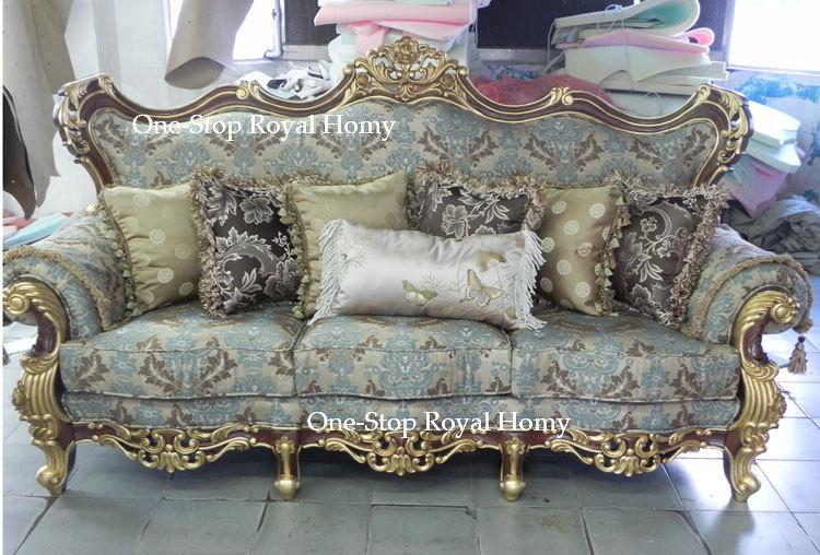 Stately Luxury Royal Antique Solid Wood Furnishing Sofa Set Jacquard Fabric L