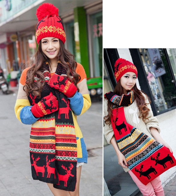 Stylish New Women Knitted Scarf Hat Ladies Sweet Deer Pattern Winter Warm Thickening Long Scarf Shawl + Ski Hat Set 29