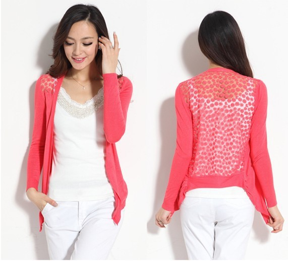 Women Cardigan Lace Sweet Candy Color cardigans Slim Crochet Knit Blouse women Sweater Cardigan Two sizes(China (Mainland))