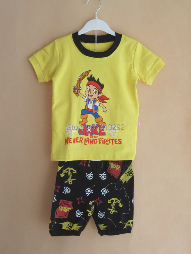 Детские товары   PS272, Pirate Jake , Baby/Children pajamas, 100% Cotton Rib short sleeve sleepwear clothing sets for 2-7 year.