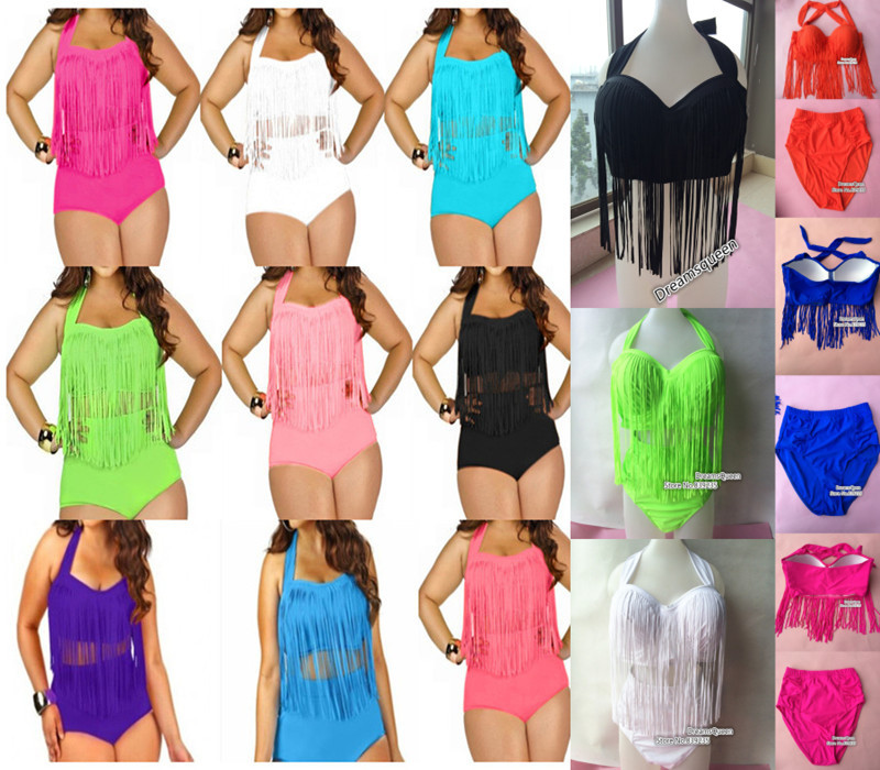 2015  big fringe swimwear plus size bikini set FREE SHIPPING bikini L - XXXL tassel high waist swimsuit 11 colors(China (Mainland))