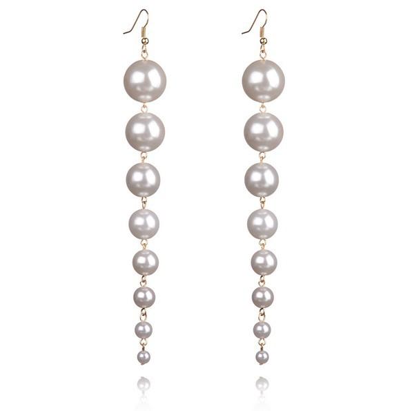 Ristar.J New 2017 Trendy  Big Long Drop Fashion Dangle  Simulated Pearls Earrings for Women