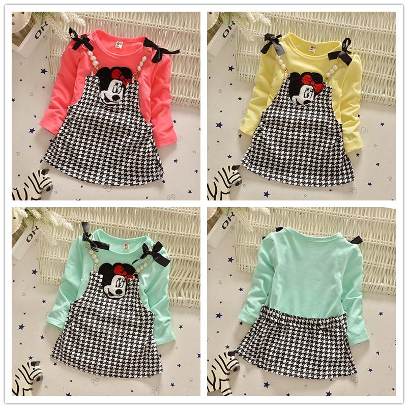 2015 New Kids Girls Autumn Winter Dress Girls Bow Dot Cotton Long Sleeve Dress Girl Clothing 1-5 Y(China (Mainland))