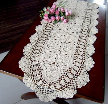 """Vintage Handmade Crocheted  Table cloth/Table runner , 16x59""""(40X150CM),Free shipping! NO. 0869"""