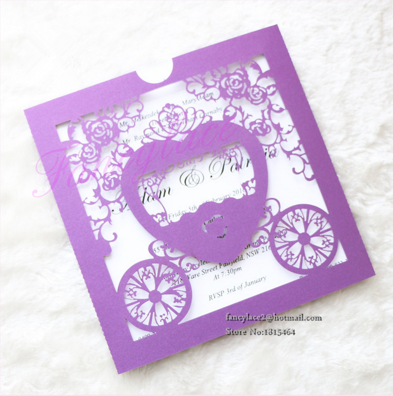5Laser Cut Hollow Lace Wessing Car Party Invitations Cards/Greet Cards/Wedding - Fancylace-Art store