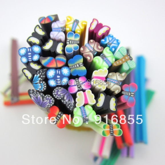 Free Shipping!10pcs 3D Mix  Butterfly Fimo Clay Slice Nail Art Tips UV Acrylic Decoration Wheel DIY nail material