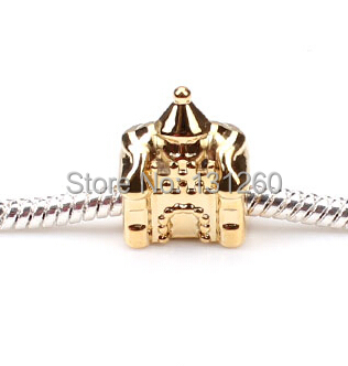 1PC New Gold castle European Bead Style silver jewelry Beads - Helmet & Jewelry Accessories store
