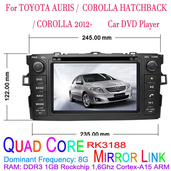 1024*600 Quad Core Android 4.4.4 Fit TOYOTA AURIS, COROLLA HATCHBACK, COROLLA 2012 2013 2014 2015 Car DVD Player GPS 3G Radio(China (Mainland))