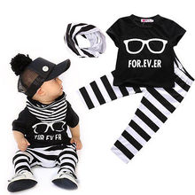 2016 New style summer t-shirt+pants+scarf infant clothing baby born baby clothing boy children set Kids clothing bebe next