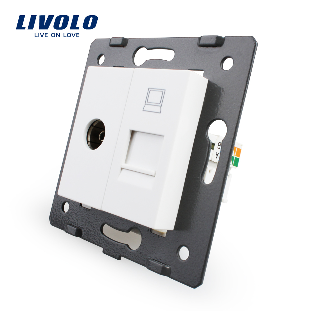 Manufacture Livolo, White Crystal Glass Panel, 2 Gangs Wall Computer and TV Socket / Outlet VL-C7-1VC-11, Without Plug adapter(China (Mainland))
