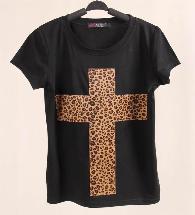 Summer Clothing 2015 Brand New Tee Shirt Cotton Women Leopard Cross Print Graphic Women Short Sleeve Casual Tops T Shirts(China (Mainland))