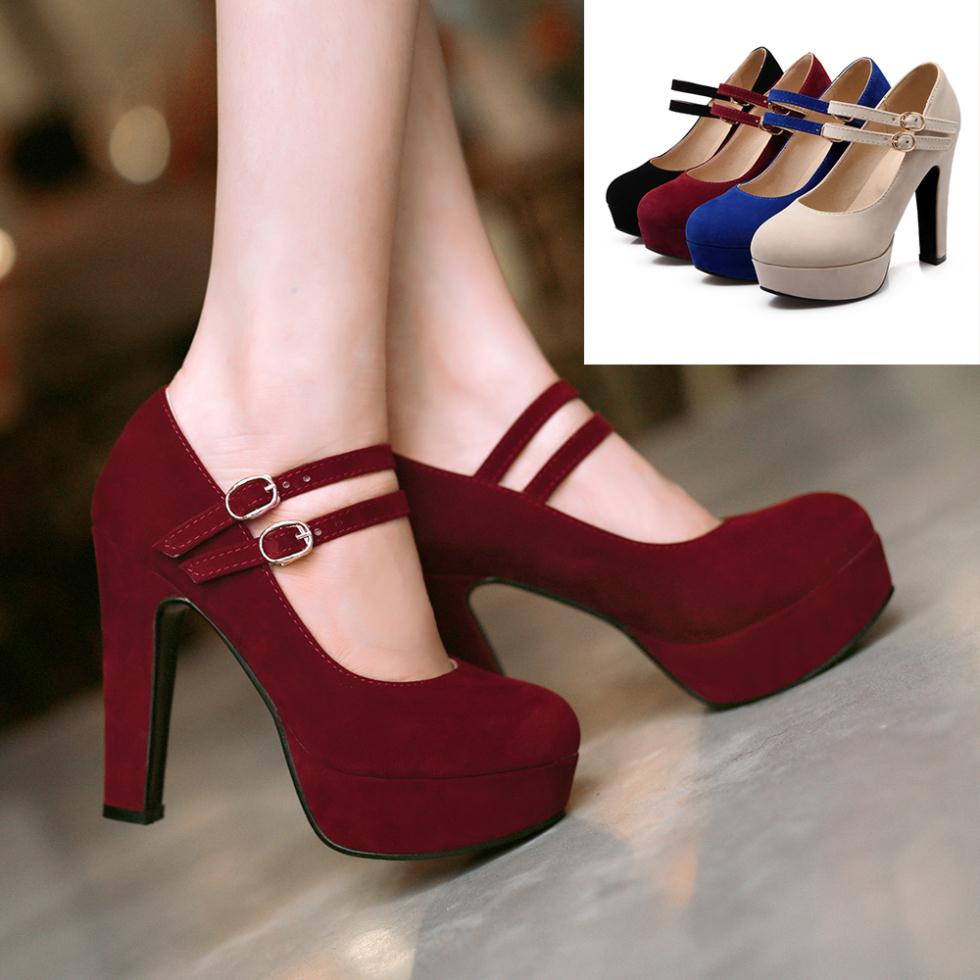 Red Mary Jane High Heels
