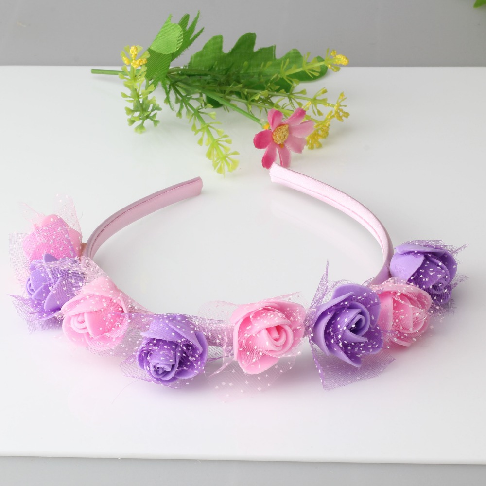 New 6 colors Flower Hair Band Headband Baby Hair Accessories Children Accessories Girls Wedding Hair Accessories