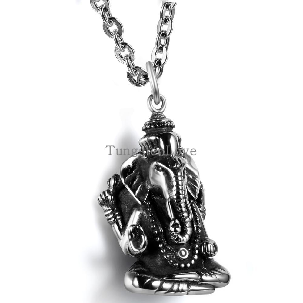 Classic Retro Hot Stunning Silver Elephant Buddha Biker Mens Pendant Necklace Chain India Stainless Steel ganesha Necklaces(China (Mainland))