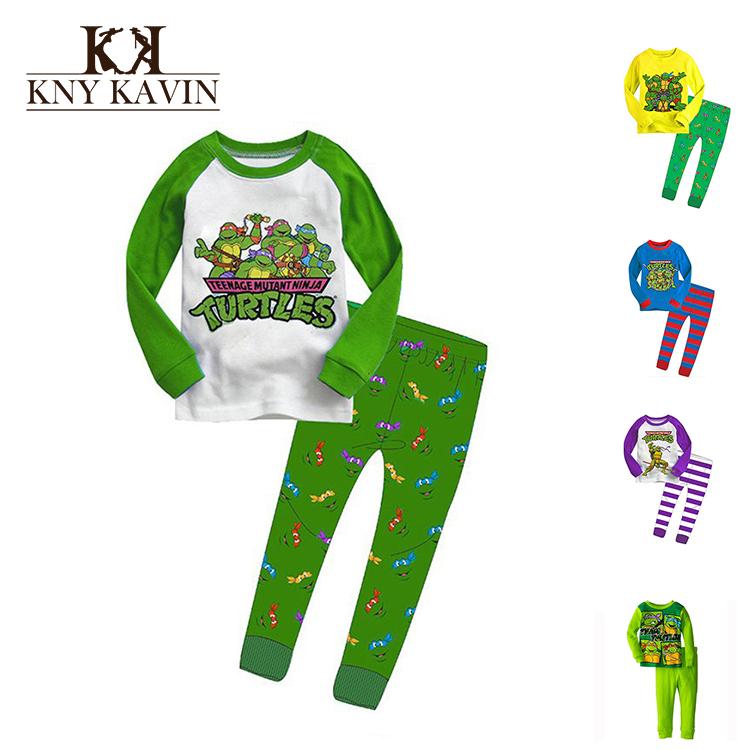 New 2015 Children Pajamas Sets Ninja Turtles 100% Cotton Kid Sleepwear Clothing Set High Quality Baby Ninja Turtles Pajamas Sets(China (Mainland))