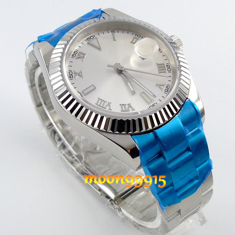 40mm parnis oyster white dial sapphire glass automatic steel men WRIST Watch<br><br>Aliexpress