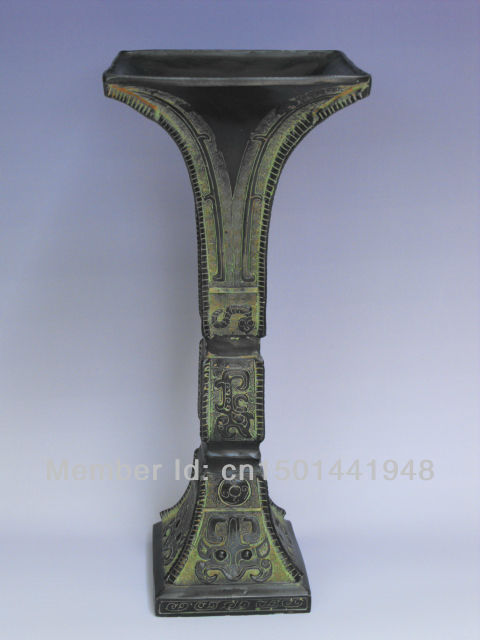 antique bronze chinese square shape vase home decoration