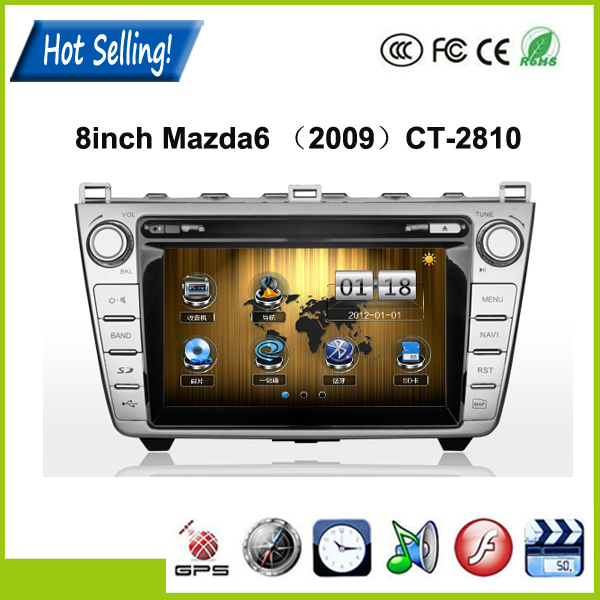 Hot Selling 8Inch 2 Din Windows CE 6.0 Car DVD Player for Mazda6 (2009) With GPS Dual Zone function +8G Card Map(China (Mainland))
