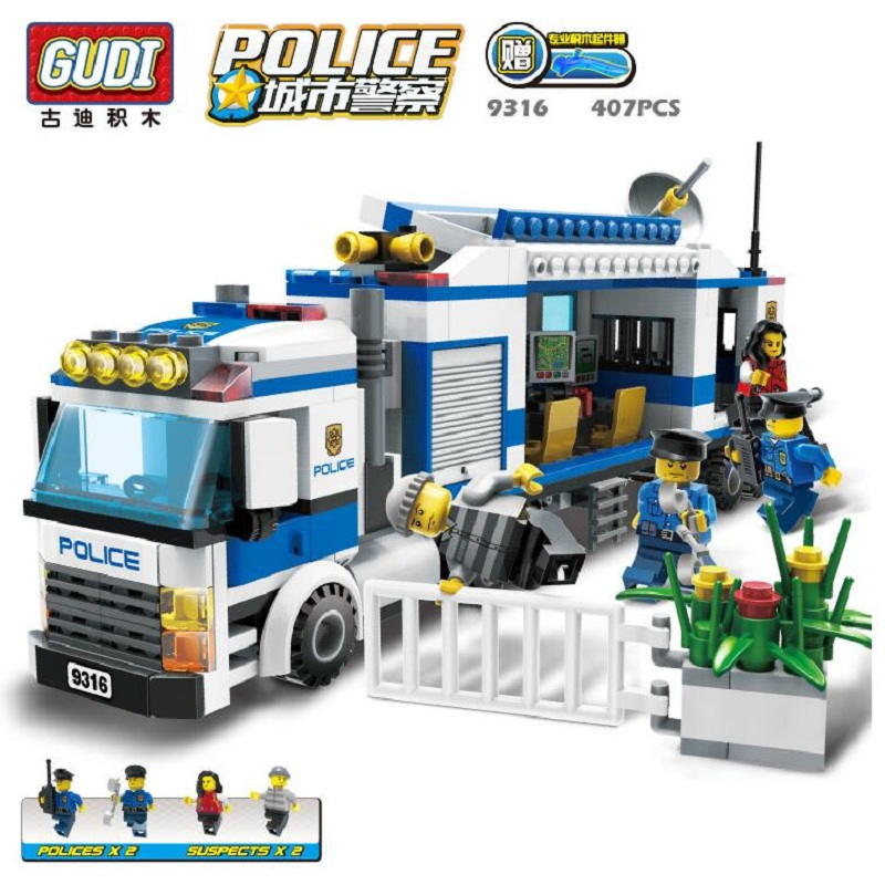 GUDI Police Mobile Police Assembled Fight Inserted Plastic Building Blocks Toys For Children Educational Toys(China (Mainland))