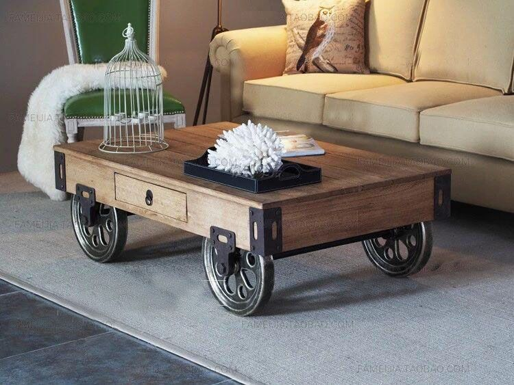 industrial style coffee table with wheels 1