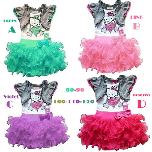 New Arrival cartoon hello kitty baby girls dresses up for kids children's clothing fashion toddler tutu casual costumes(China (Mainland))