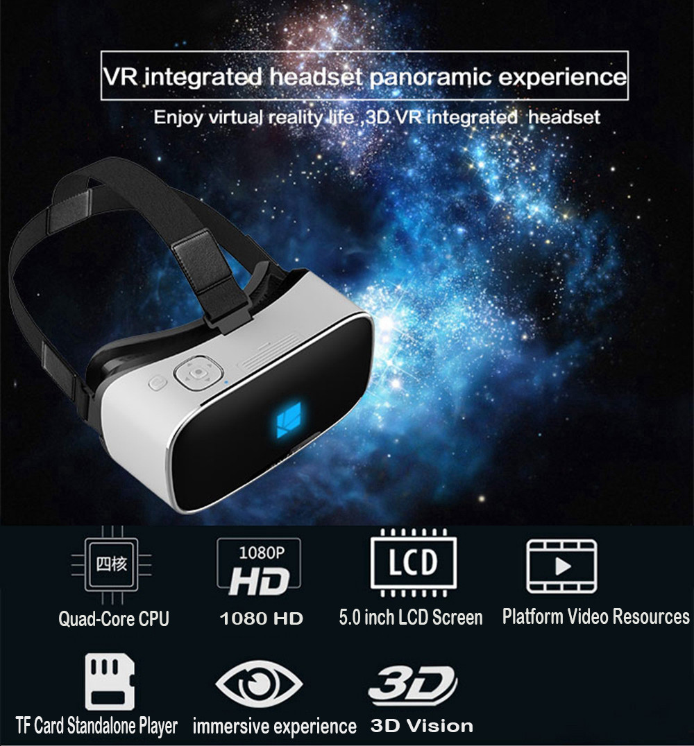 3D VR All in one Google Cardboard Movie Video Game Virtual Reality Glasses Box Quad-Core 2G/16GB Wifi Bluetooth 5.5 inch Screen