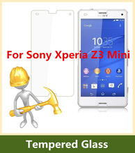 2.5D Arc Edge 9H Hardness Tempered Glass For Sony Xperia Z3mini Screen Protector Explosion-Proof Film for Xperia Z3 Compact M55W(China (Mainland))