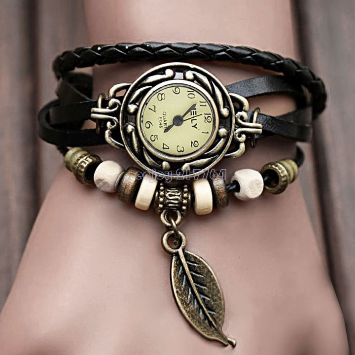 2015 New Fashion Women Dress Watch Leather Hand Knit Vintage Watches,Bracelet Wristwatches Leaf Pendant 5 Colors - Enjoy Technology store