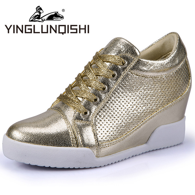 New 2015 Wedge Sneakers For Women Spring Summer Causal Women Shoes Breathable Height Increasing Isabel Marant Shoes Gold Sliver(China (Mainland))