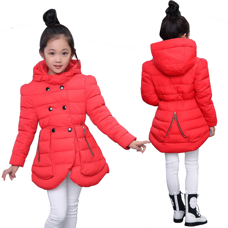Buy 2015 Fashion Jacket Girls Winter Coat Long Double Breasted Girl Clothes Cotton-Padded ...