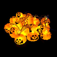 3M 1Pumpkin Halloween String Lights yellow color AA battery power Props Decorations Supplies Home Party Decor F - Keytheme Co., Ltd. store